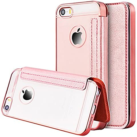 iPhone 5 Case SmartLegend Apple iPhone SE iPhone 5/5S Case Leather Wallet Cover Transparent Back Panel Soft Eage with Card Slots Holster Mobile Phone Protective Case -Rose Gold