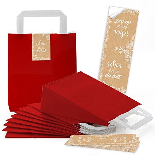 10 kleine rote Tüten Papier-Tragetaschen Boden 18 x 8 x 22 cm + SCHÖN DASS DU DA BIST Aufkleber Verpackung beige weiß creme-farben Spitze vintage Verpackung give-away Hochzeit Geburtstag (Weiße Und Rote Papier-tüten)