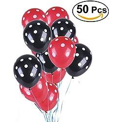 50 globos colores rojo y negro
