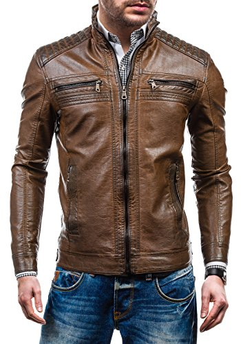 bolf-mens-leatherette-jacket-full-zip-high-collar-pockets-issho-1772a-brown-xxl-4d4