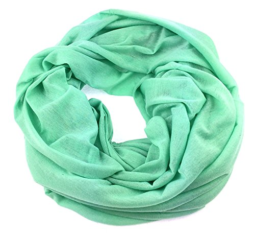 Preisvergleich Produktbild NB24 Damen Loop Schal,  Endlosschal, Rundschal, Damentuch,  Damenode einfarbig,  mint (a 150),  Damenbekleidung,  Damenschal,  Tuch