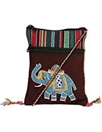 ATLED Brown Cotton Casual Passport Sling Bag For Women