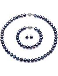 JYX Pearl Necklace Jewelry Set - Exquisite 7.5-8.5mm Black Flat Round Freshwater Pearl Necklace, Bracelet, Ear Studs Set