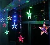BLOOMWIN guirnalda luminosa Estrella cortina de luz 12 estrellas lunas 2.5M con...