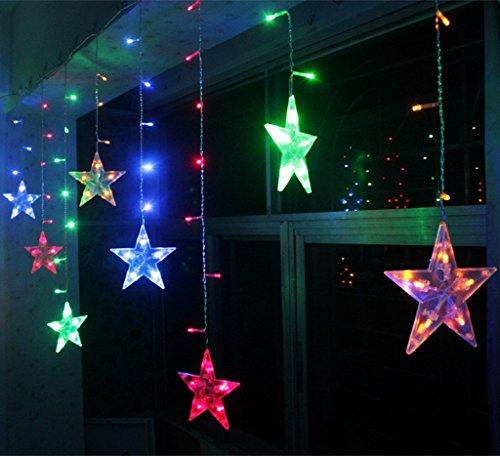BLOOMWIN Lichtervorhang Stern 3*0.65M Bunt, 120LED 220V 8Modi Girland Star Curtain Fairy Light Weihnachtsbeleuchtung Fensterdeko für Innen, Wand, Fenster, Tür Innen-haus-türen