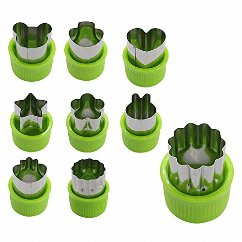 RETYLY 9 Stueck Mini Ausstechform Torte Kruste Gemuese Obst Cutter Backen Set Werkzeuge Zubehoer mit BAER Sternen Kaninchen Pilze Erdbeere Herz Ausstecher Formen