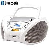 Lauson CP450 CD-Radio Bluetooth mit CD MP3 USB Player Tragbares Kinder Radio Boombox tragbarer CD Player, Weiß