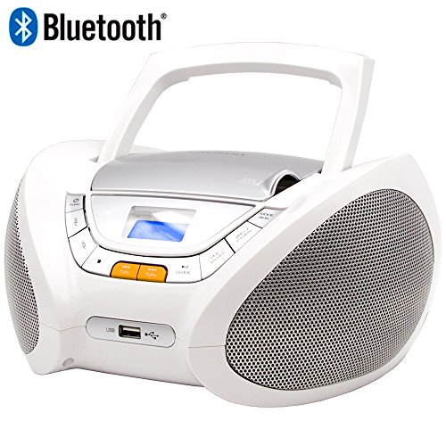 Lauson CP450 CD-Radio Bluetooth mit CD MP3 USB Player Tragbares Kinder Radio Boombox tragbarer CD Player, Weiß