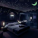 Sternenhimmel Aufkleber, Glühen Sternen 446, im Dunkeln leuchten Leuchtende Sterne, hellste leuchtende Sterne Aufkleber, Wandaufkleber für Kinder und Schlafzimmer, mit Sternbild Guide & Mond