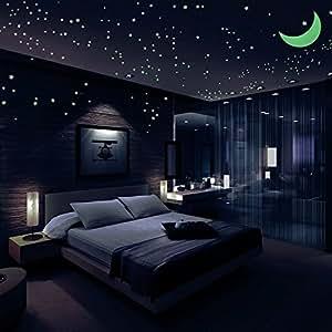 sternenhimmel aufkleber gl hen sternen 446 im dunkeln leuchten leuchtende sterne hellste. Black Bedroom Furniture Sets. Home Design Ideas