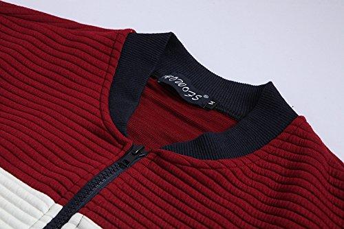 YesFashion - Homme - Jilet - Fermeture éclair - Manches longues - épissage couleur Rouge
