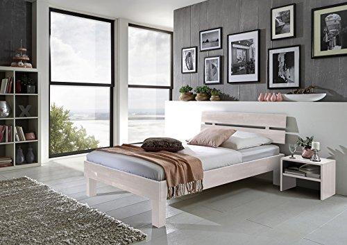 SAM® Massiv-Holzbett Jessica in Buche weiß, Bett mit geteiltem Kopfteil, natürliche Maserung, massive widerstandsfähige Oberfläche in edlem Weißton, 90 x 200 cm