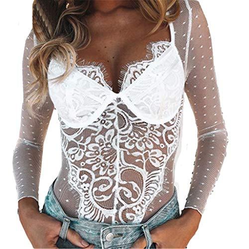 Werstand Sexy Dessous Öffnen Schritt Babydoll Reizwäsche Damen Erotik Spitze Lingerie V-Kragen Jumpsuit Nachtwäsche Dessous Versuchung Unterwäsche Nachthemd (M, Weiß) -