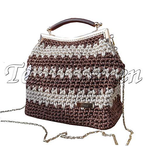 Frame Purse Handtasche (Damen Handtasche Vintage Braun-beige Umhängetasche Gestrickte Handtaschen mit Kette und Streifen Exklusive Muster Tasche mit Rahmen Kisslock Verschluss)