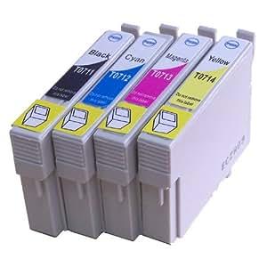 10 Stück XL Tintenpatronen mit CHIP, kompatibel zu Epson (4x schwarz T711, 2x cyan T712, 2x magenta T713, 2x gelb T714) - passend für Epson Stylus D120, D120 Network Edition, D78, D92, DX4000, DX4050, DX4400, DX5000, DX6000, DX6050, DX7000F, DX7400, DX7450, DX8400, DX8450, DX9400F, DX9400F Wifi-Edition, Office B40W, BX300F, BX600FW, BX610FW, S20, S21, SX100, SX105, SX110, SX115, SX200, SX205, SX210, SX215, SX218, SX400, SX400 WiFi, SX405, SX405 WiFi, SX410, SX415, SX510W, SX515W, SX600FW, SX610FW