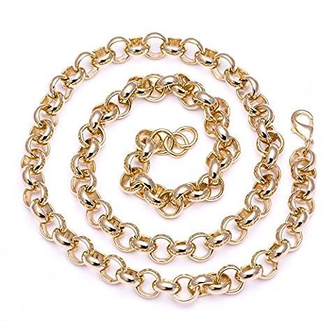Luxury Belcher Chain Necklace - 24 k Gold plated - Men's - 16mm, Heavy, Bling (24 inch)