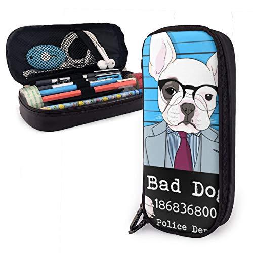 Hand gezeichneter netter Hund mit Sonnenbrille Federmäppchen bleistiftbeutel make-up tasche veranstalter stiftbeutel halter box stifthalter