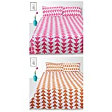 Story@Home 120 TC 100% Cotton Set of 2 Double Bedsheets with 4 Pillow Covers, Pink, Brown