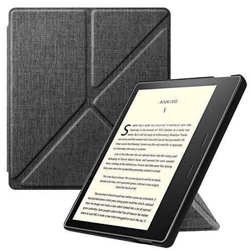 Fintie Hülle kompatibel für Kindle Oasis 10. Generation (2019 Modell) & 9. Generation (2017 Modell) - [ Origami Serie ] Schutzhülle mit Standfunktion & Auto Sleep/Wake Funktion, Stoff dunkelgrau