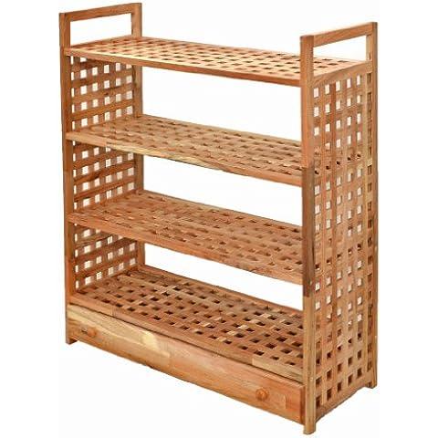 Estantería con cajones y 4 divisiones en madera de nogal para baño, cocina, sótano, despensa, habitación de niños, zapatos,