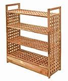 Regal mit Schublade und 4 Böden Standregal Walnuss Massivholz für Bad, Küche, Keller, Vorratsraum, Kinderzimmer, Schuhe usw.