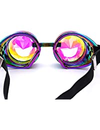 Gaddrt Kaléidoscope verres colorés rave Festival Party EDM lunettes de soleil diffracté Lens (Noir)