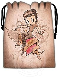 Burgundy : New Arrive Betty Boop Drawstring Bags Custom Storage Bags Storage Printed Receive Bag Compression Type...