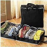 Omkuwl Tragbarer Schuh-Kasten-nichtgewebte faltende Spielraum-Schuh-Organisator-Beutel schwarz