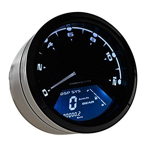 LTC ® 12000 RMP Digitaler LCD Motorrad Tachometer Drehzahlmesser Geschwindigkeitsmesser Kilometerzähler 199 KMH MPH mit Warnleuchte Blinkerleuchten