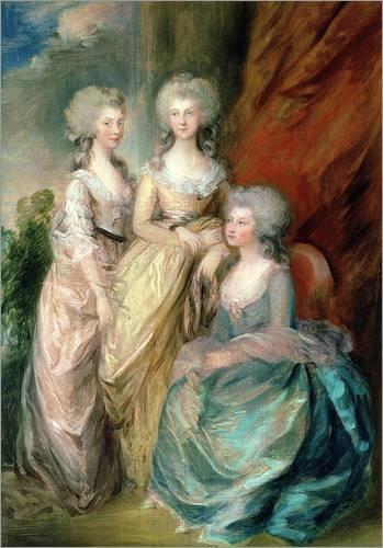 Holzbild 70 x 100 cm: Drei Töchter von George III. von Thomas Gainsborough / Bridgeman Images