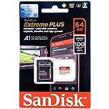 Carte Mémoire MicroSDXC SanDisk Extreme PLUS 64 Go + Adaptateur SD jusqu'à 100 Mo/s, Classe 10, U3, V30, A1