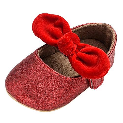 (Quaan (11-13 Neugeborenes Baby Mädchen Solide Bogen Klettverschluss Prinzessin Weich Anti-Rutsch Zuerst Gehhilfe Schuhe Boot Beiläufig Warm elastisch atmungsaktiv Weihnachten Holloween Turnschuhe)