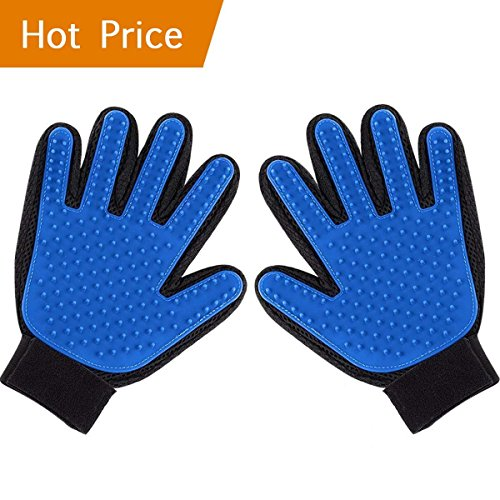 Pet Grooming Glove Hair Removal Mitt, Work as Deshedding, Bathing, Massaging Glove Brush, Effective for Long and Short Hair Dogs, Cats, Horse (One Pair)