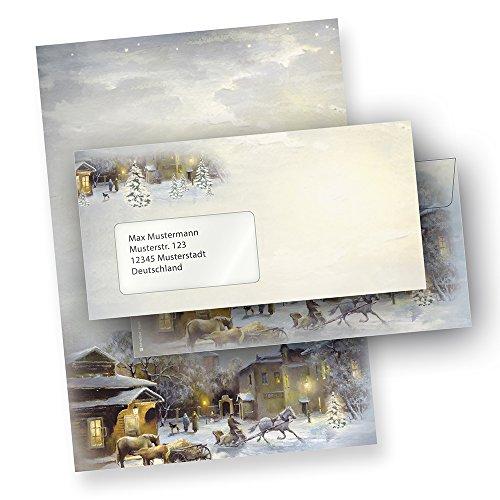 Briefpapier WINTER-AQUARELL (100 Sets mit Fensterumschläge) schönes Weihnachtsbriefpapier mit...