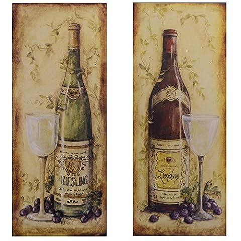 Bilder Set 2 Blechschilder Riesling Bordeaux Weinflaschen Vintage Retro Wanddeko