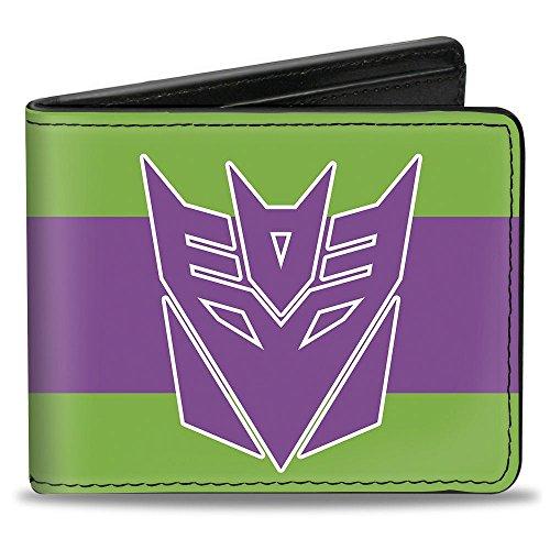 Buckle Down Unisex Decepticon Logo/Stripe Green/Purple/White Bi-Fold Wallet