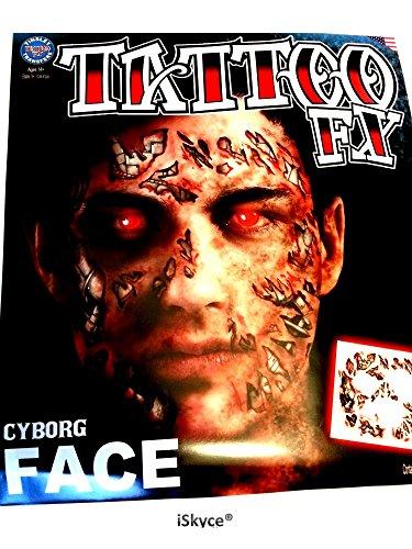 1temporäre Tätowierungen Gesicht Cyborg Made in U.S.A Tinsley Tatoo FX; sie Sensation mit diesem Tattoo wirklich VERBLÜFFENDES. iskyce