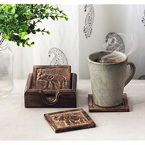 Store Indya, Coasters per il vetro di vino beve birra per te e caffe della tazza della tazza con elefante Carving & Holder