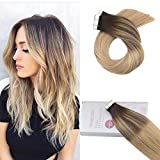 Moresoo 20 Zoll Tape in Haarverlängerungen Ombre Haarfarbe Seidig Gerader Hauteinschlag Tape on Extensions Menschliches Remy Haar Color #2 Fading to #16 Highlight with #24 Blonde