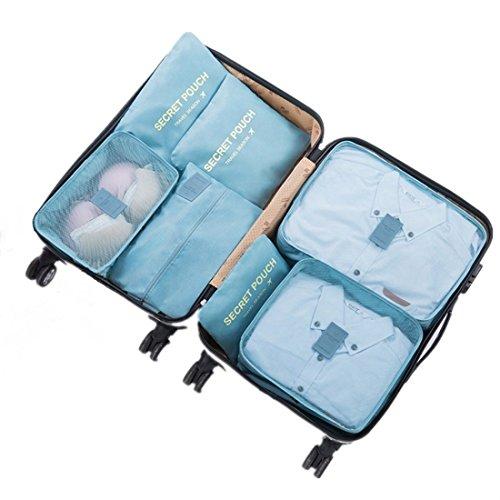 3 Stück Netz-gepäck-set (7 Set Kleidertaschen - 3 Packwürfel + 3 Taschen Tasche + 1 Schuhtasche - Perfekter Reisegepäck-Organizer(2Blue ))