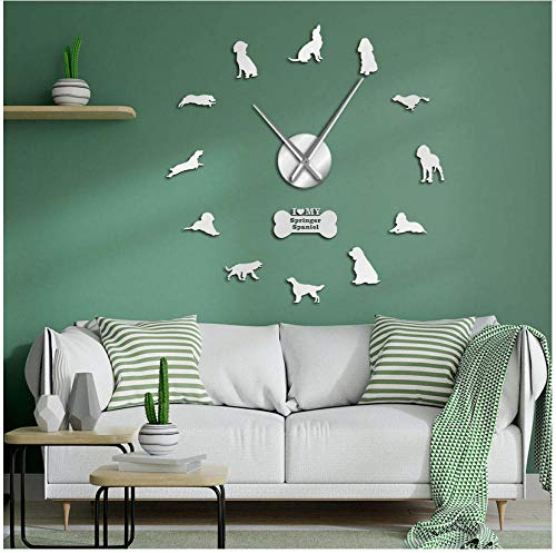 Yzdwzs Moderne Stumm Englisch Springer Spaniel Hunderasse DIY Wanduhr Tier Hunde Haustiere Wandkunst Dekor Uhr Uhr Moderne Neuheit Geschenk für Hundebesitzer (Silber) -