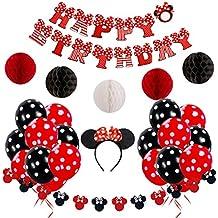 Decoraciones de cumpleaños de Minnie Mouse rojas y negras para niñas con pancarta de feliz cumpleaños