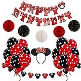 JOYMEMO Decorazioni di Compleanno Minnie Rosso e Nero per Ragazze con striscioni, ghirlande, Cerchi e Pois di Buon Compleanno