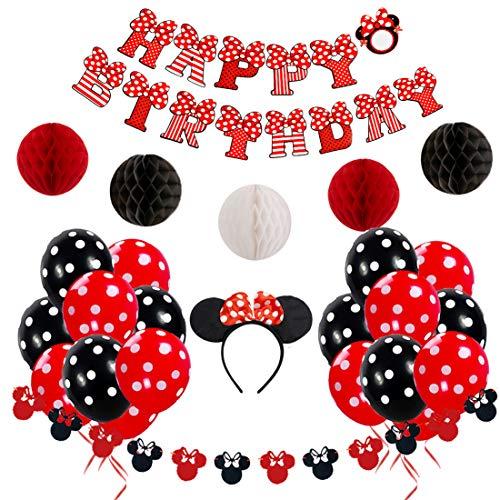 JOYMEMO Minnie Mouse Geburtstag Dekorationen rot und schwarz für Mädchen mit Happy Birthday Banner, Garland, Stirnband und Polka Dot Ballons