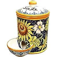 CERAMICHE D'ARTE PARRINI- Ceramica italiana artistica, barattolo sale a scesa decorazione girasole, dipinto a mano, made in ITALY Toscana