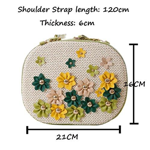 YOUJIA Damen Blumen Chain-strap Boho Stroh Strandtaschen Schultertaschen Weiß