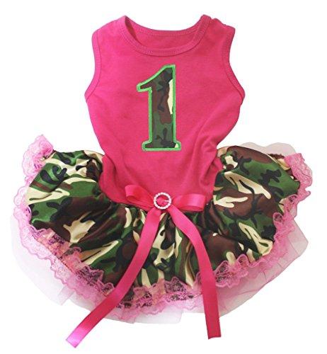 Hot Pink Baumwolle Shirt Camouflage Spitze Tutu 1Hund Kleid ()