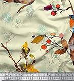Soimoi Gelb Baumwolle Ente Stoff Baum & Robin Aquarell