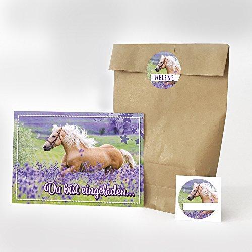 16 Einladungskarten, 16 Geschenktüten Und 16 Etiketten Zum Kindergeburtstag    Motiv Pferde Einladung   Für Mädchen Geburtstagseinladungen Reiten Party