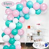 SPECOOL 93 Pièces Ballons Rose Blanc Bleus,Ballons d'Anniversaire la Décorations de fête et Accessoires pour Parfait pour Le Mariage, Douche, fête de Barbie, Douche de Enfant, Articles de Fête...